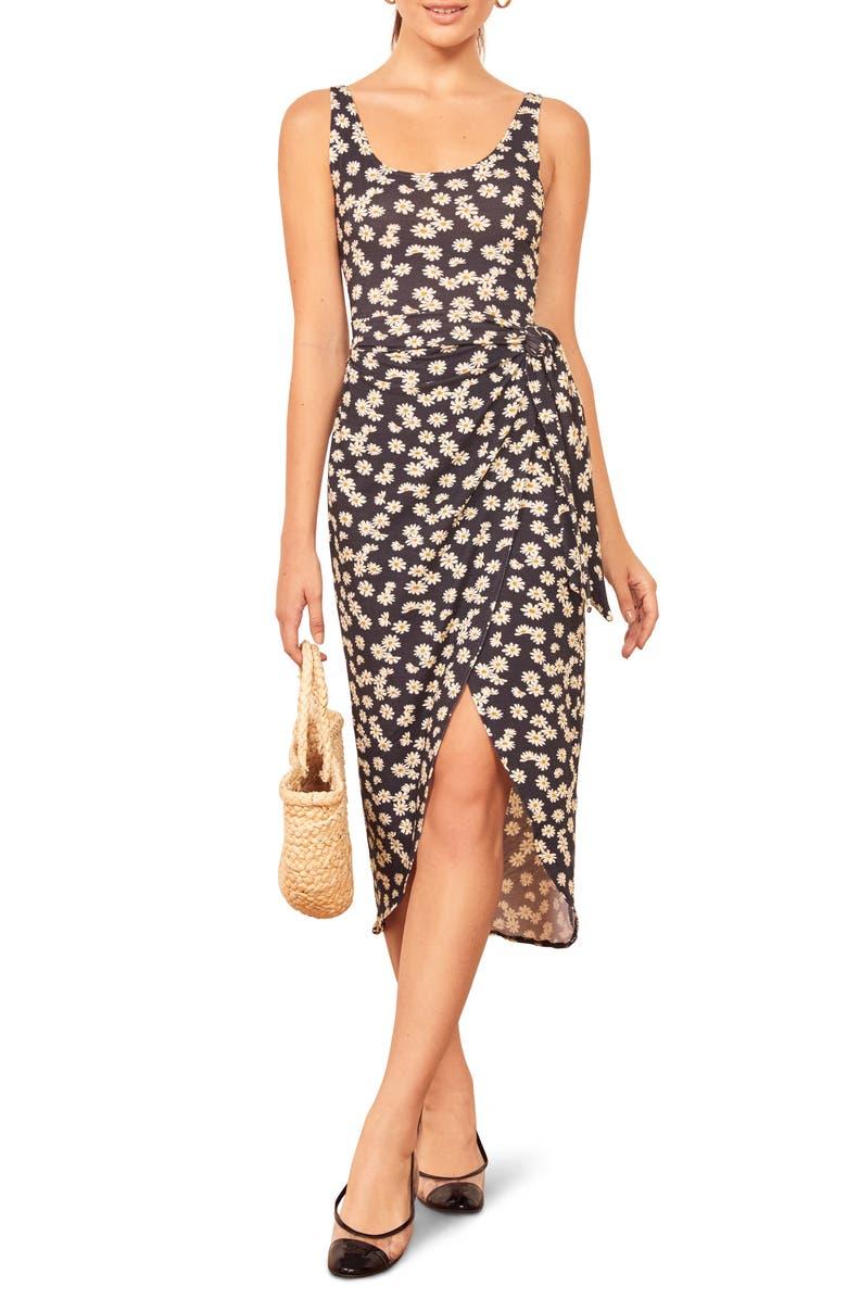 REFORMATION Kaila Wrap Style Jersey Dress, Main, color, DAISY CHAIN
