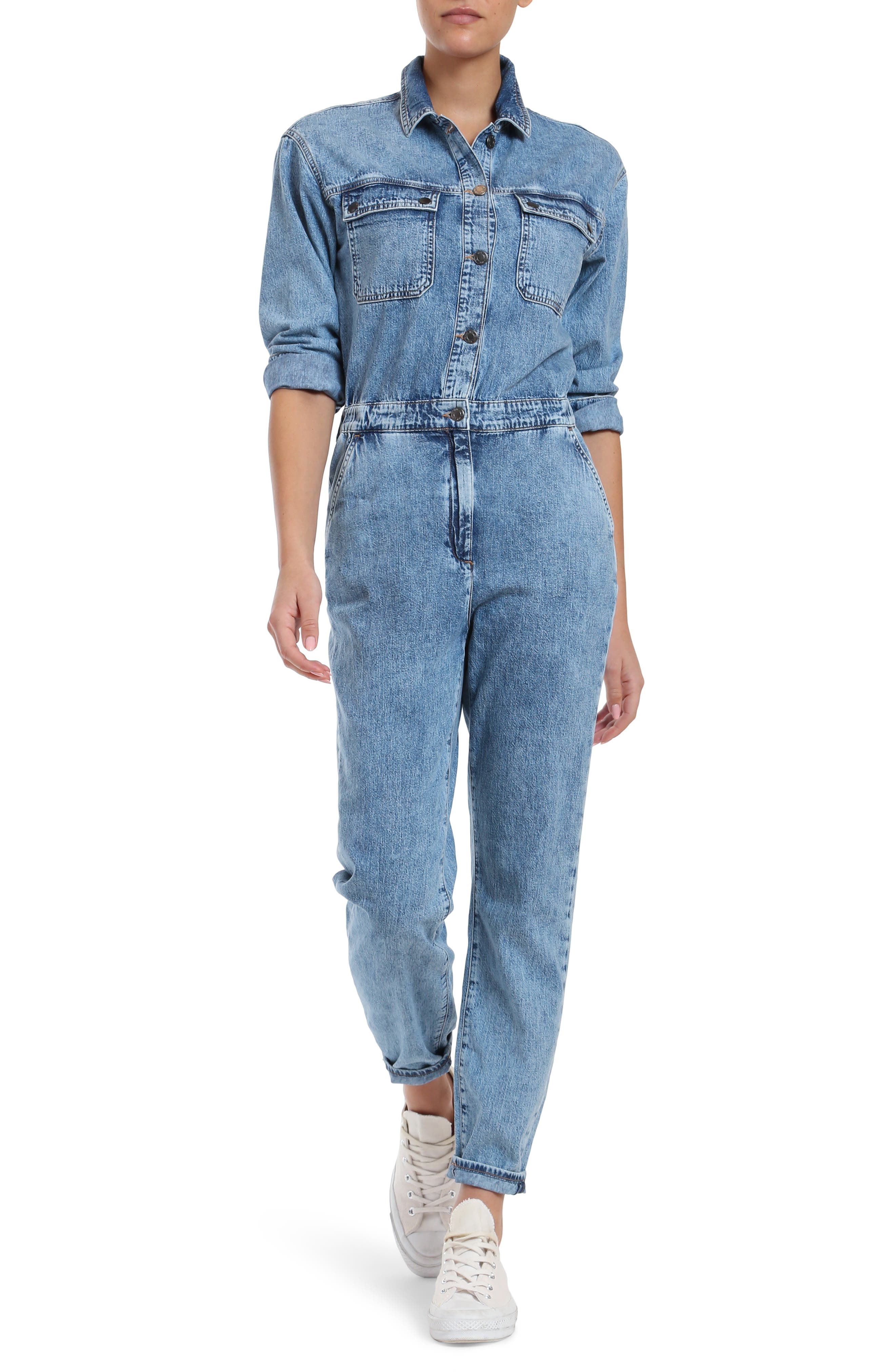 Instantly upgrade your casual look with this utilitarian jumpsuit made from nonstretch organic-cotton denim. Style Name: Mavi Jeans Eva Organic Cotton Denim Jumpsuit. Style Number: 6056904. Available in stores.