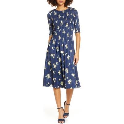 Ali & Jay Barnsdall Floral Smocked Midi Dress, Blue