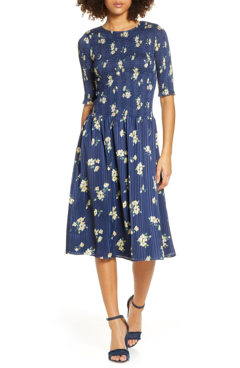 ALI & JAY Barnsdall Floral Smocked Midi Dress, Main, color, NAVY FLORAL