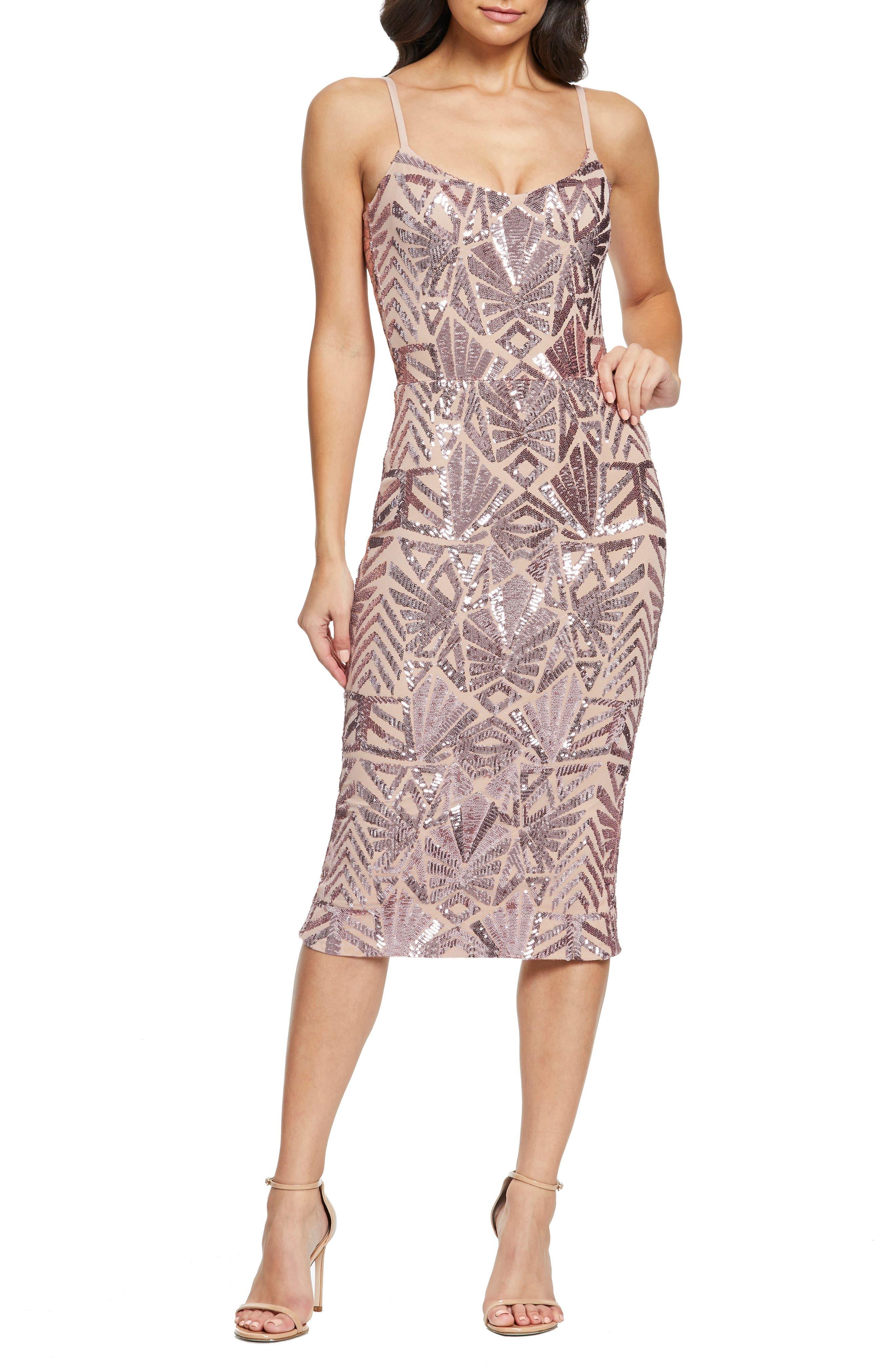1960s – 70s Cocktail, Party, Prom, Evening Dresses Womens Dress The Population Alexa Sequin Cocktail Dress $248.00 AT vintagedancer.com