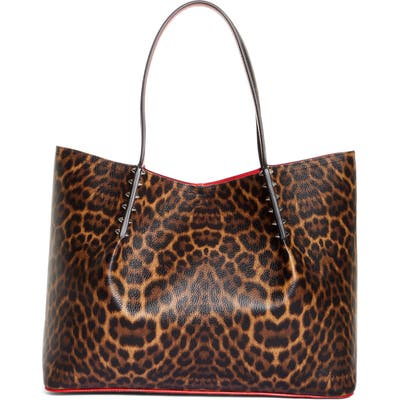 Christian Louboutin Large Cabarock Leopard Print Leather Tote - Brown