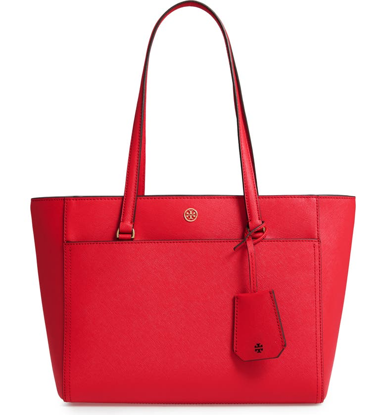 TORY BURCH Small Robinson Leather Tote, Main, color, 600