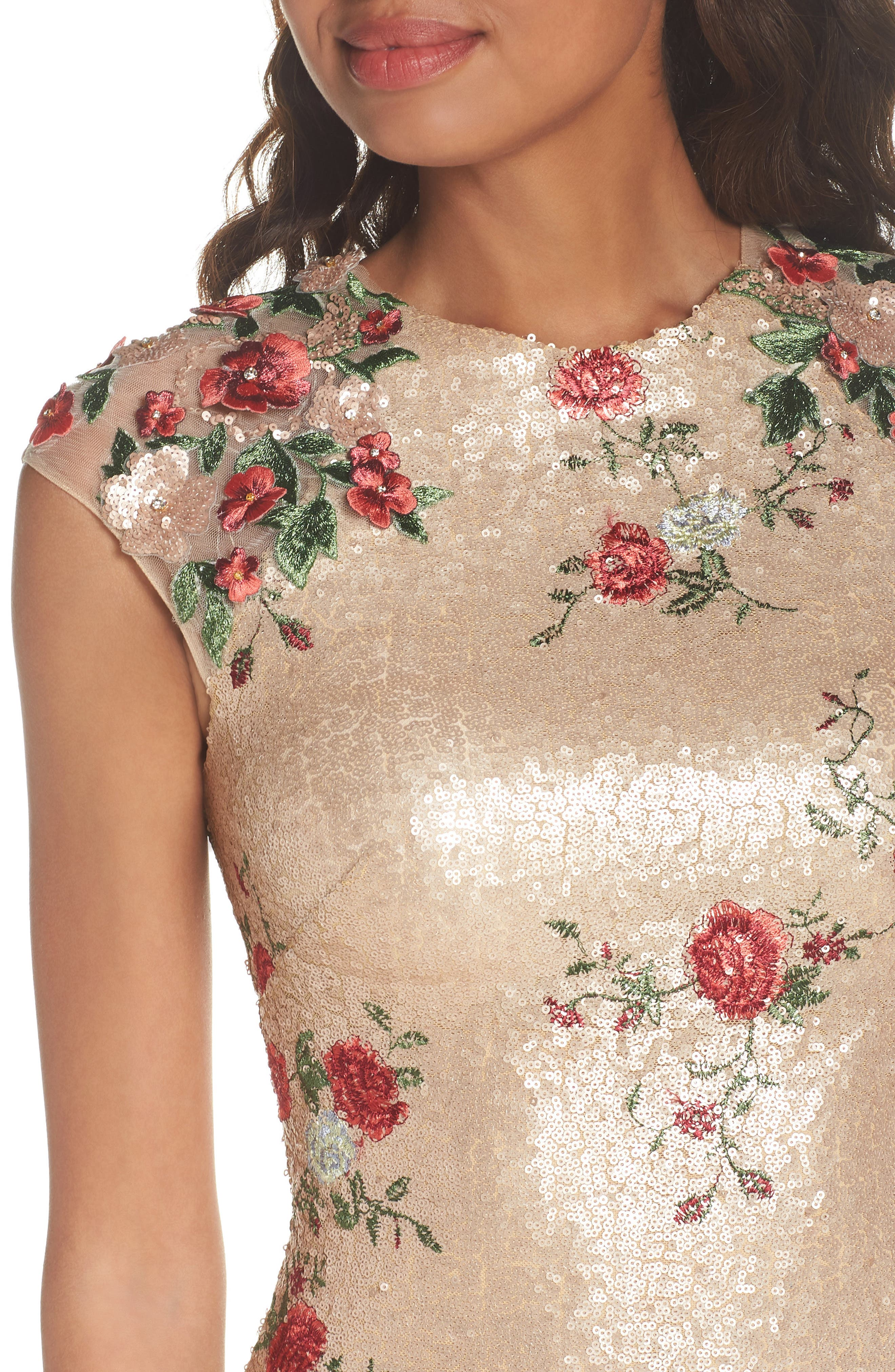 ,                             Sequin & Embroidery Sheath Dress,                             Alternate thumbnail 5, color,                             CHAMPAGNE ROSE