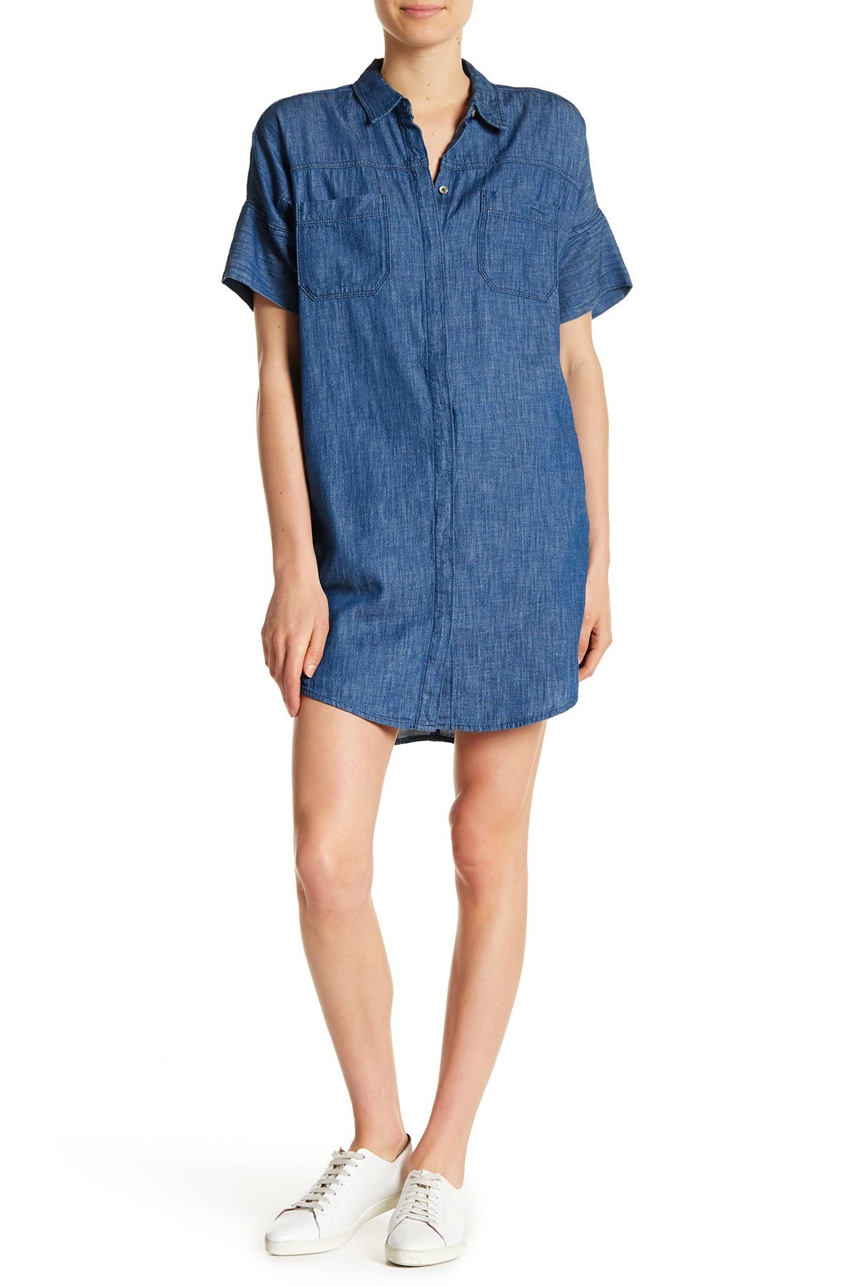 Image of BLANKNYC Denim Short Sleeve Denim Shirt Dress