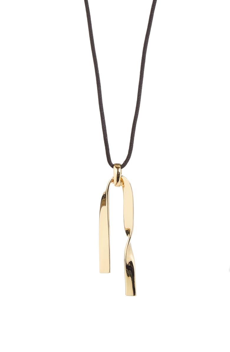 ST. JOHN COLLECTION Twist Metal Pendant Necklace, Main, color, LIGHT GOLD