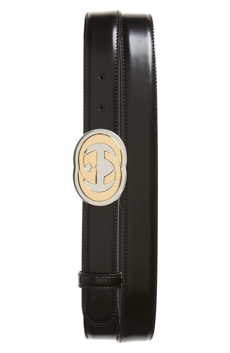 GUCCI Interlocking-G Buckle Leather Belt, Main, color, BLACK