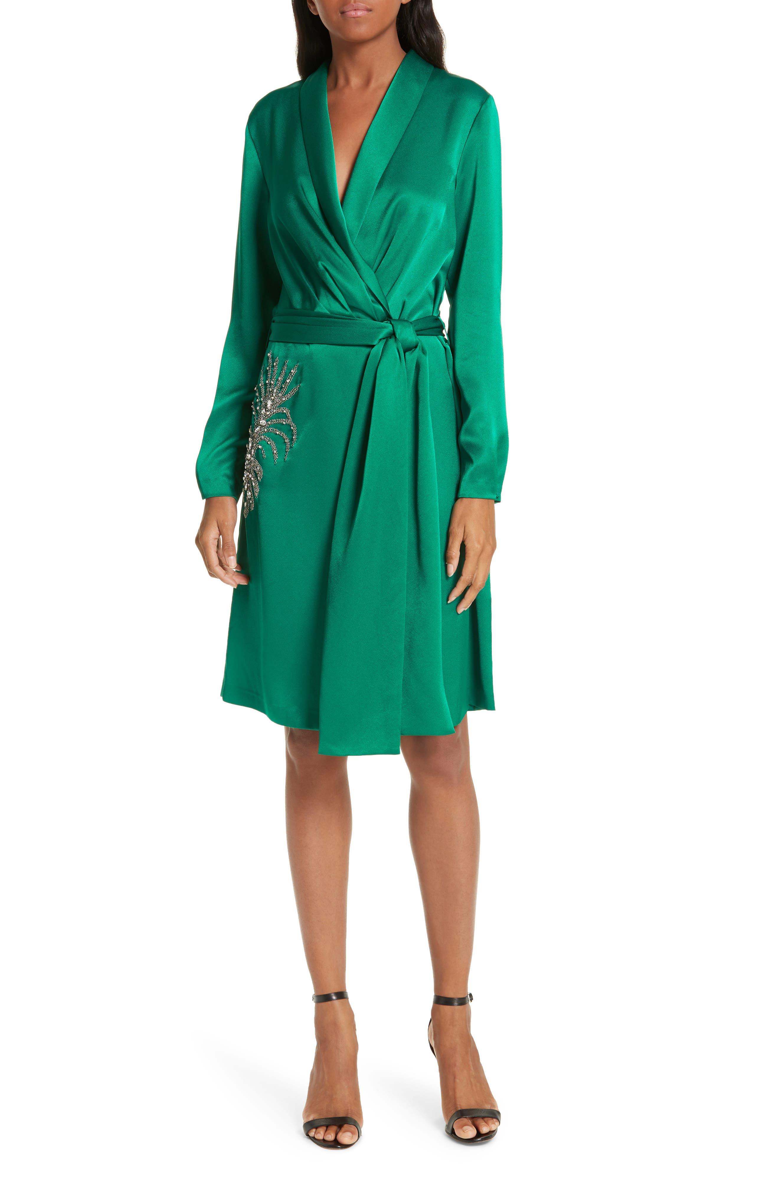 Ba & sh Janeiro Satin Wrap Dress, Green