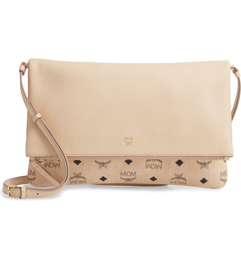 MCM Corina Leather & Visetos Canvas Foldover Crossbody Bag, Main, color, 250