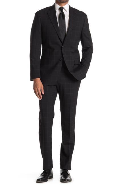Image of Hart Schaffner Marx New York Black Windowpane Print Two Button Notch Lapel Wool Suit