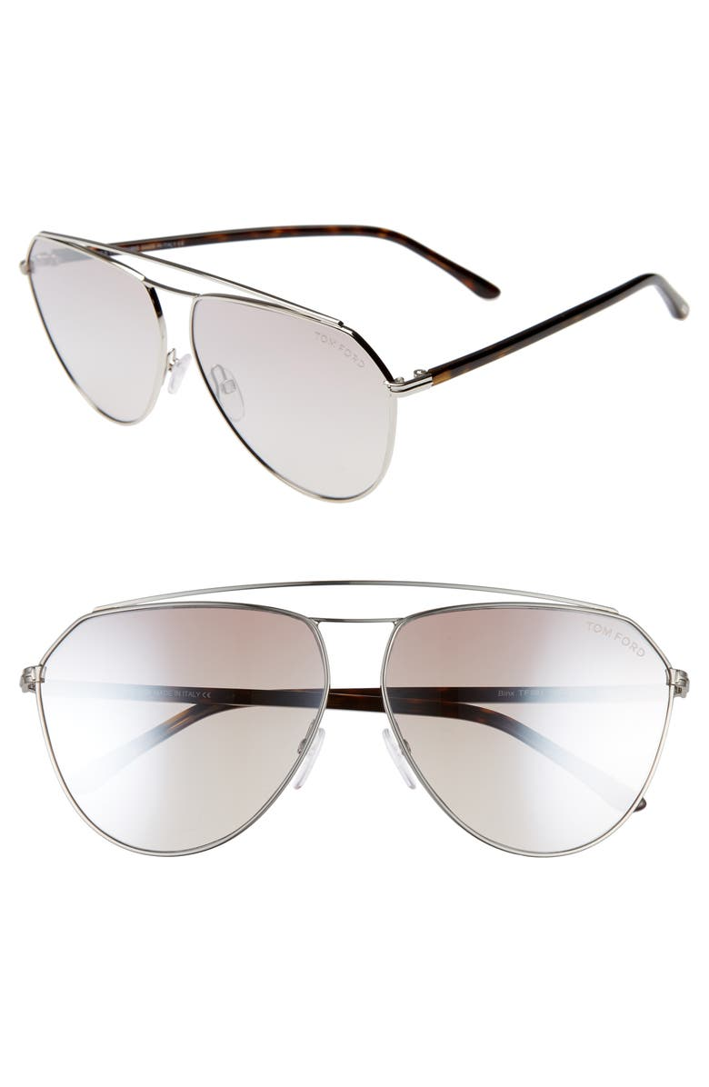 TOM FORD Binx 63mm Oversize Aviator Sunglasses, Main, color, PALLADIUM / BROWN MIRROR