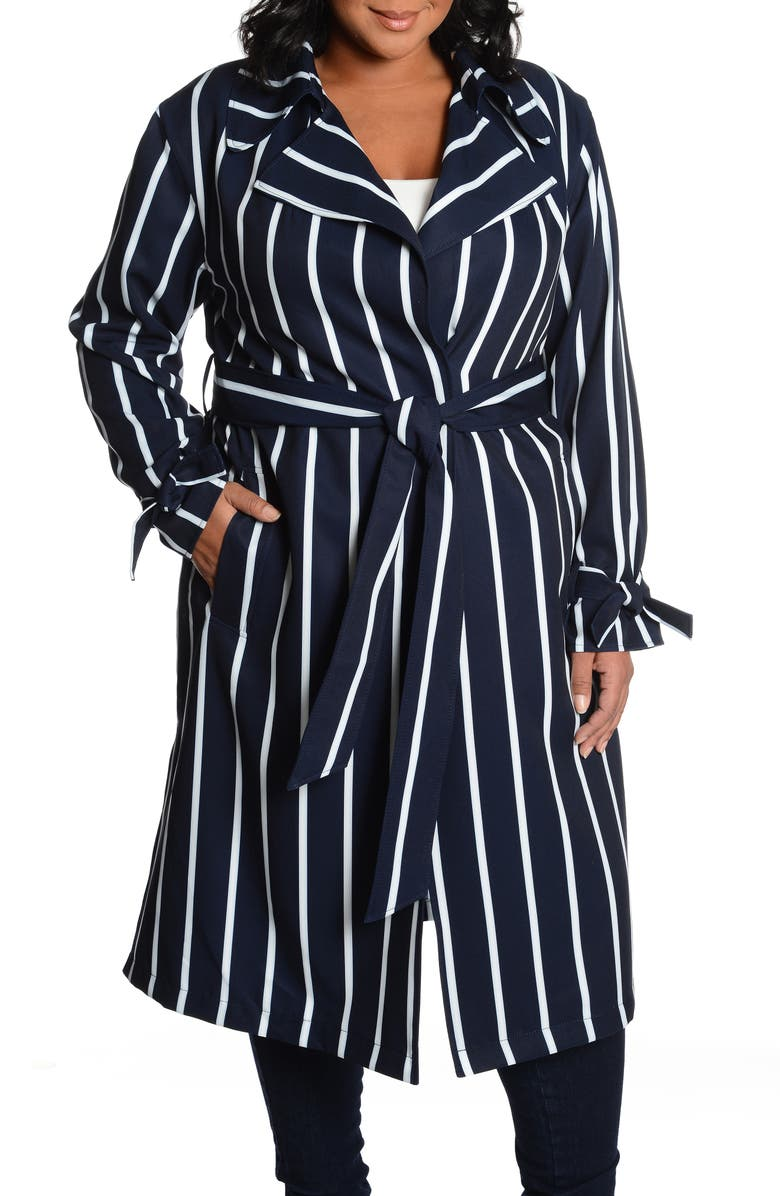 RACHEL RACHEL ROY Stripe Water Repellent Trench Coat, Main, color, 495
