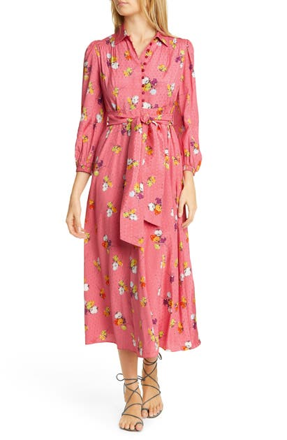 Bytimo Floral Midi Dress In Red Blossom