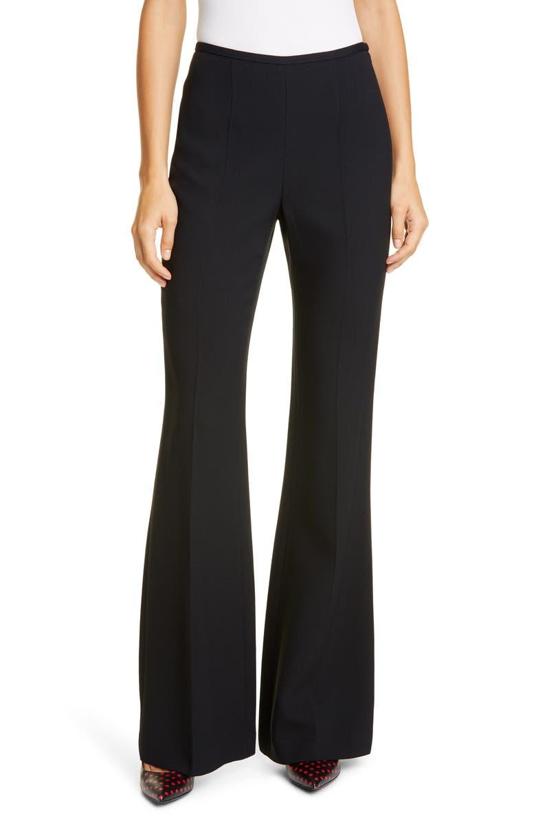 MICHAEL KORS COLLECTION Side Zip Flare Leg Pants, Main, color, BLACK