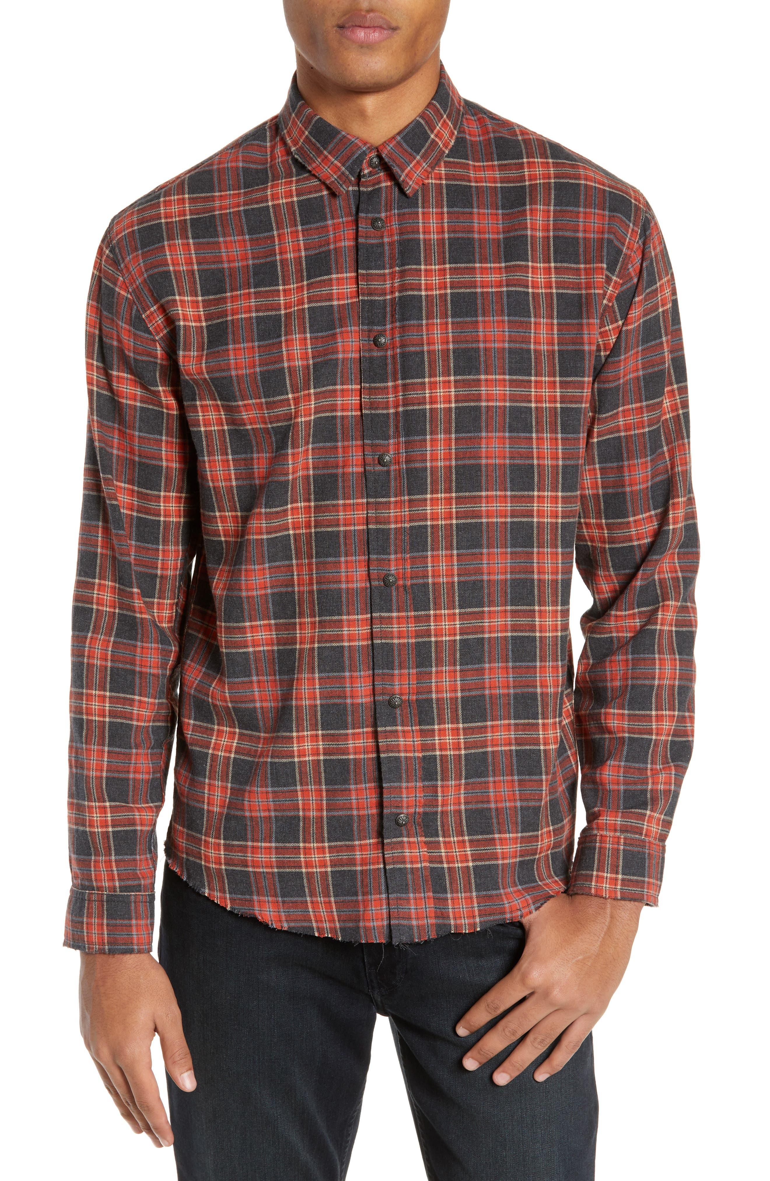 Plaid Regular Fit Flannel Shirt, Main, color, 800