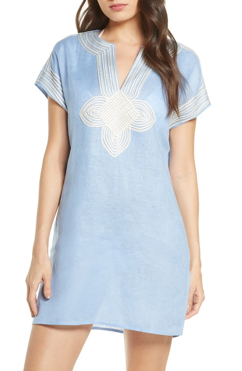 TORY BURCH Embroidered Cover-Up Tunic, Main, color, HIMALAYA BLUE