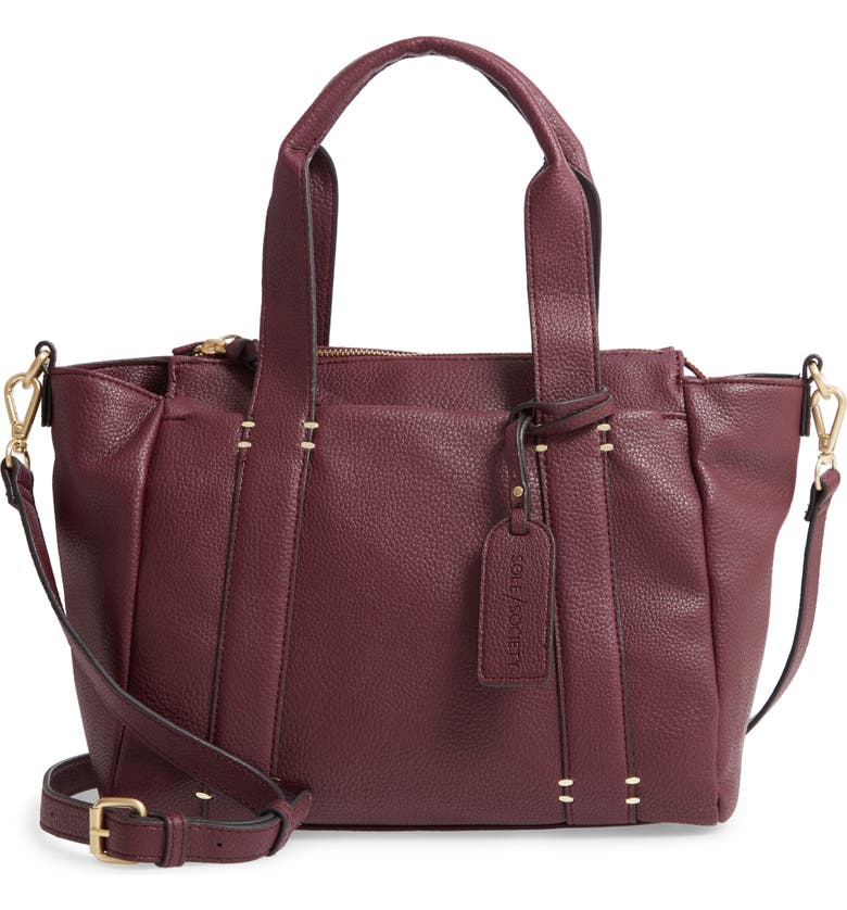 SOLE SOCIETY Kwaye Faux Leather Satchel, Main, color, AUBERGINE