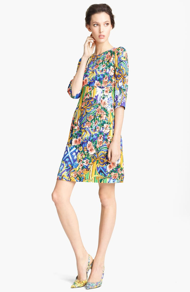 DOLCE&GABBANA Floral Print Stretch Cady Dress, Main, color, 601