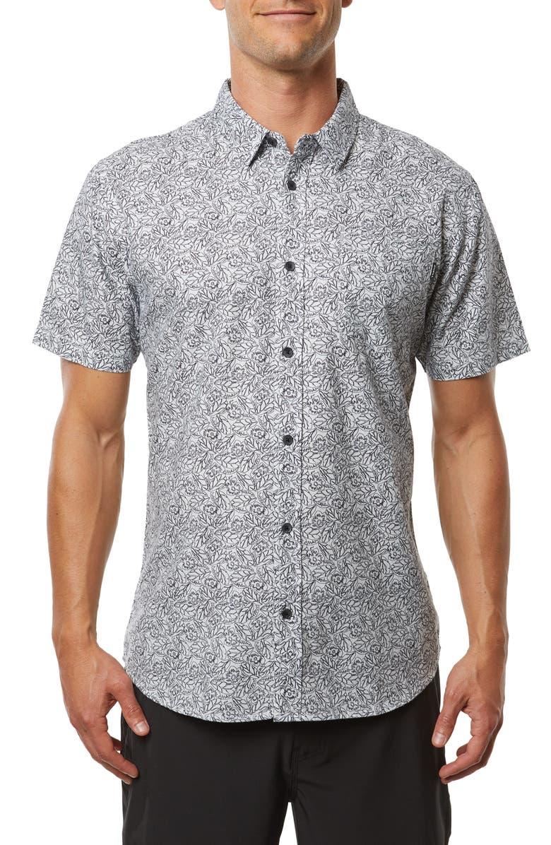 O'NEILL Humdinger Modern Fit Floral Short Sleeve Button-Up Shirt, Main, color, FOG