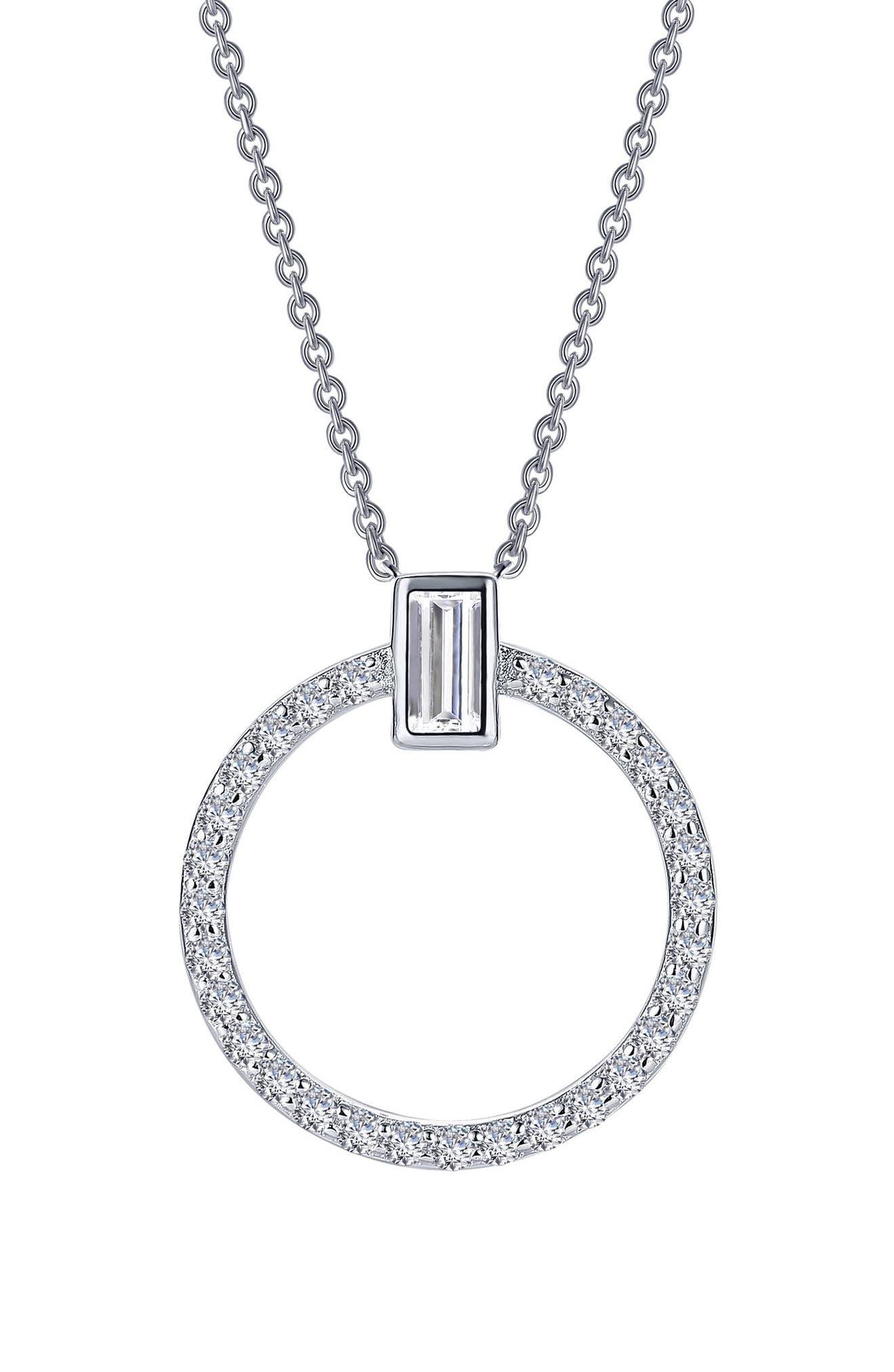 Simulated Diamond Open Circle Pendant Necklace