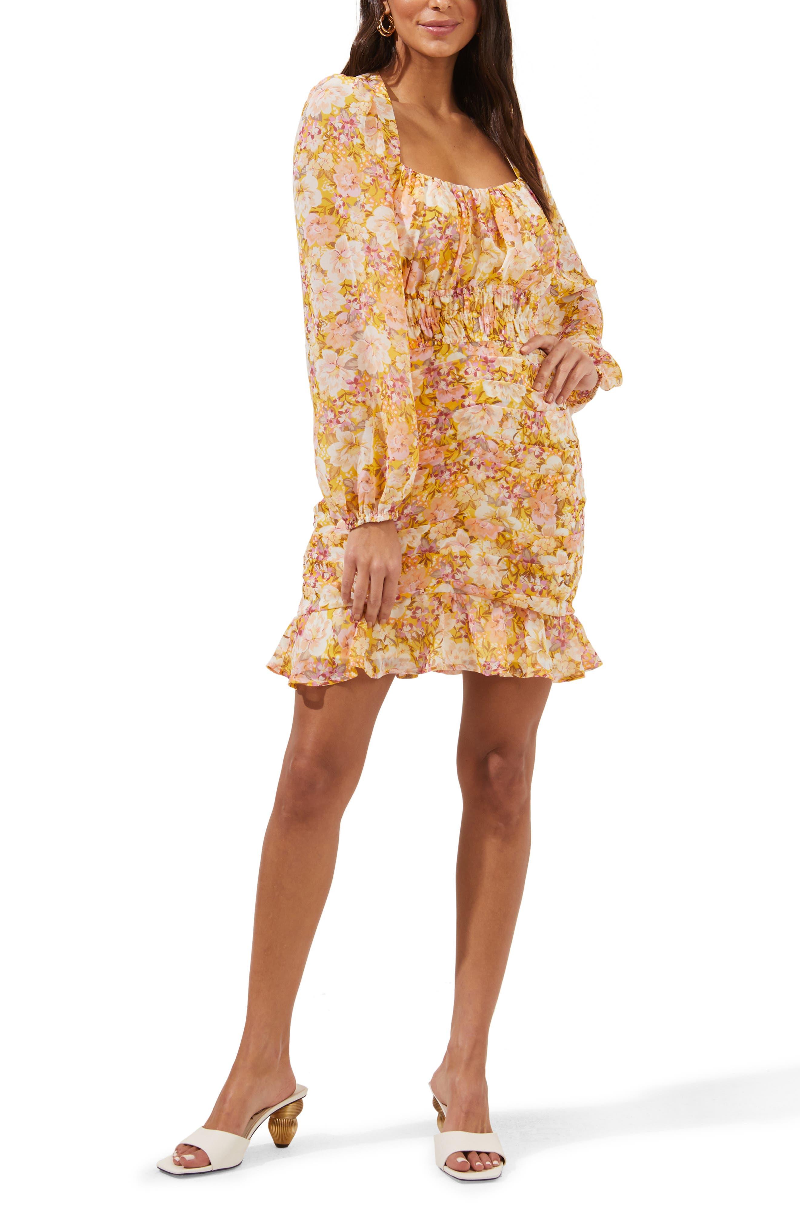 Smocked Waist Long Sleeve Minidress
