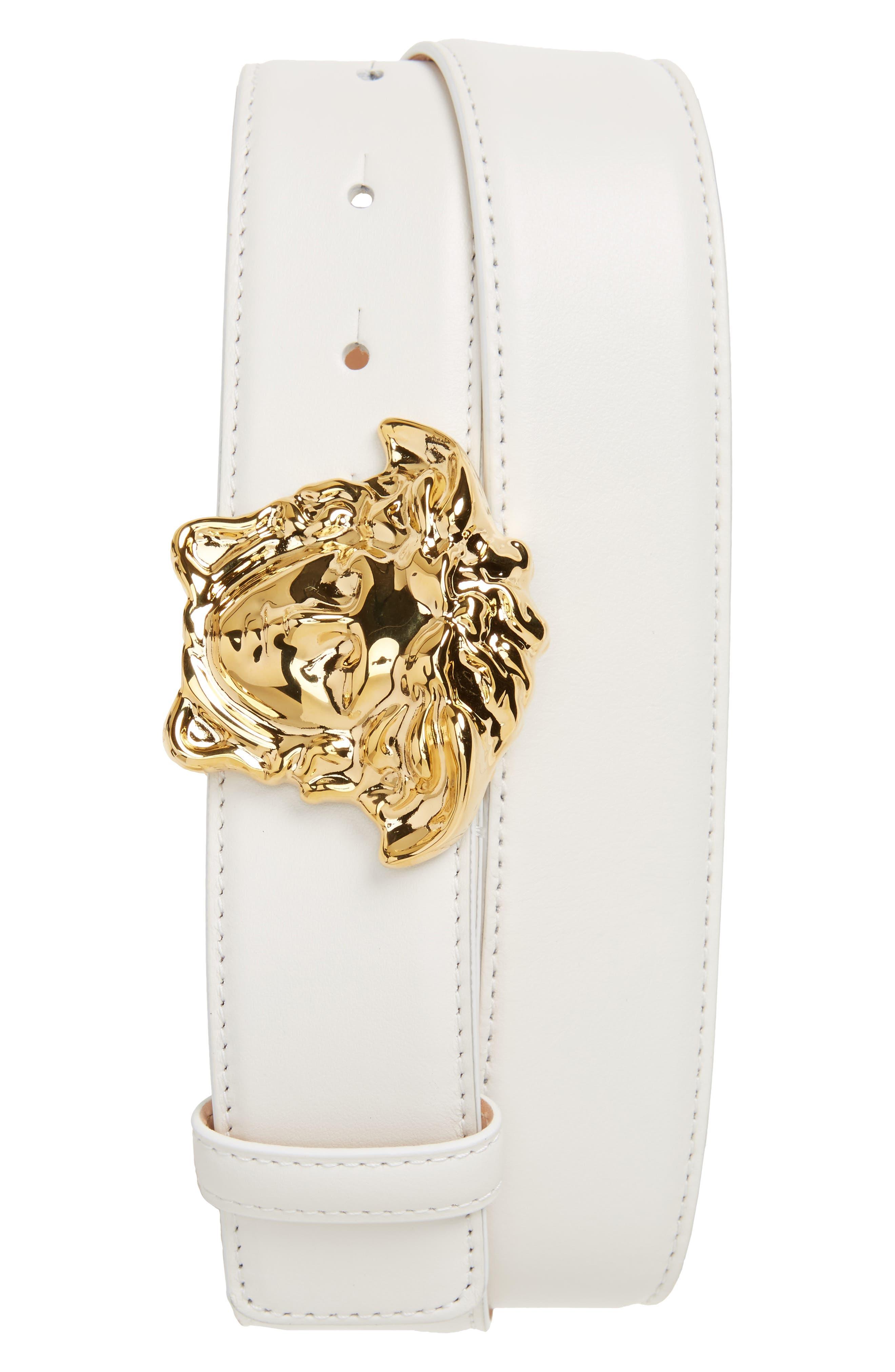 Medusa Head Leather Belt, Main, color, WHITE/HOT GOLD