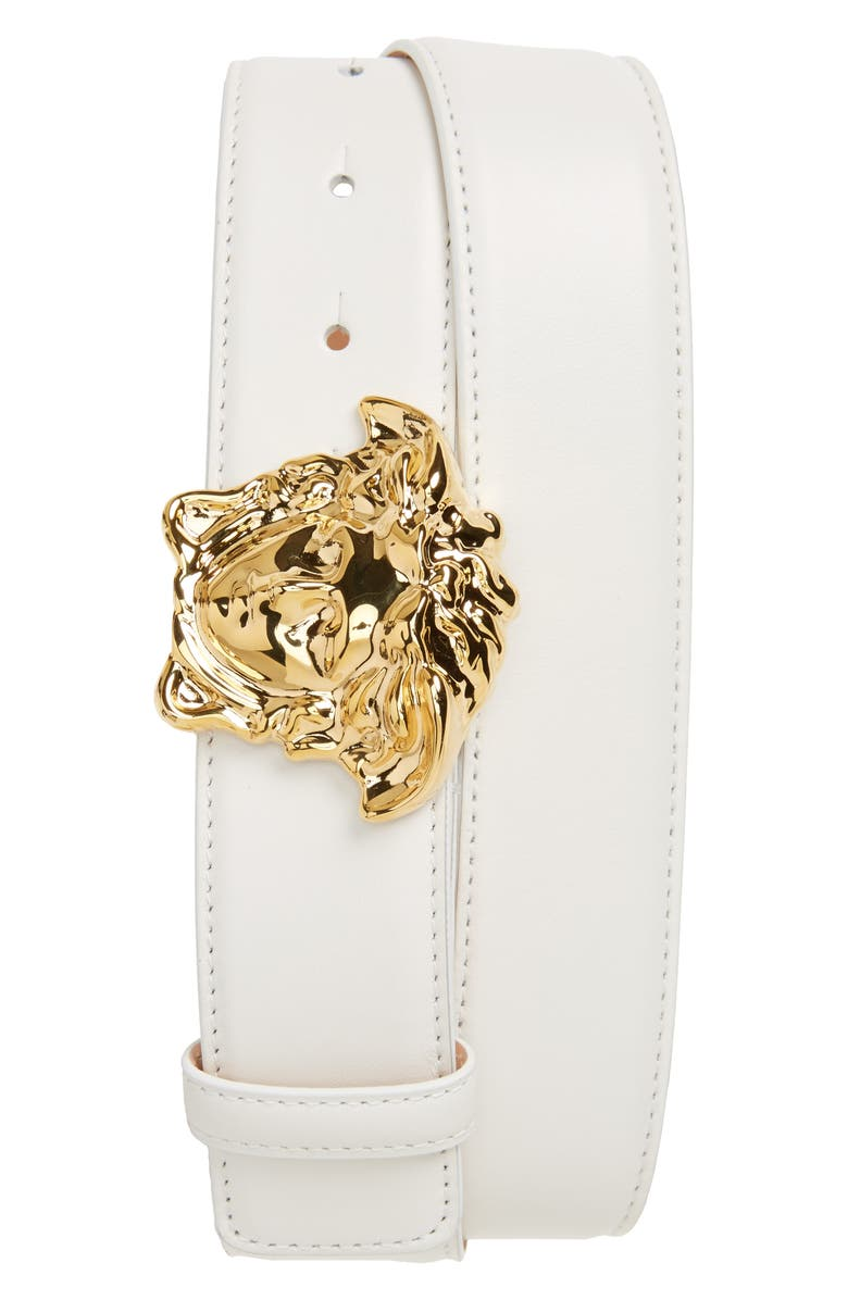 VERSACE Medusa Head Leather Belt, Main, color, WHITE/HOT GOLD