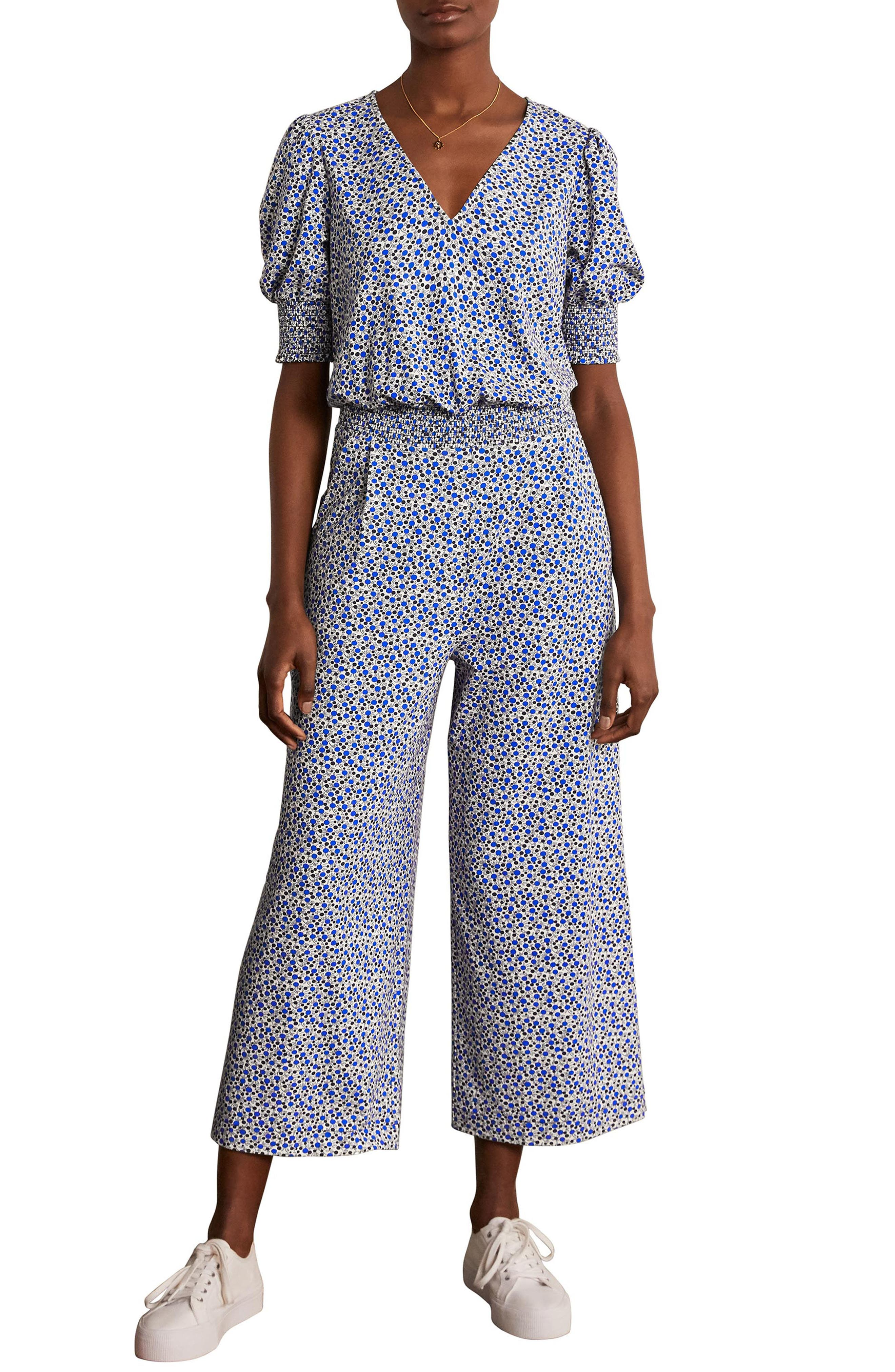 Boden Estella Print Cotton Blend Jersey Jumpsuit
