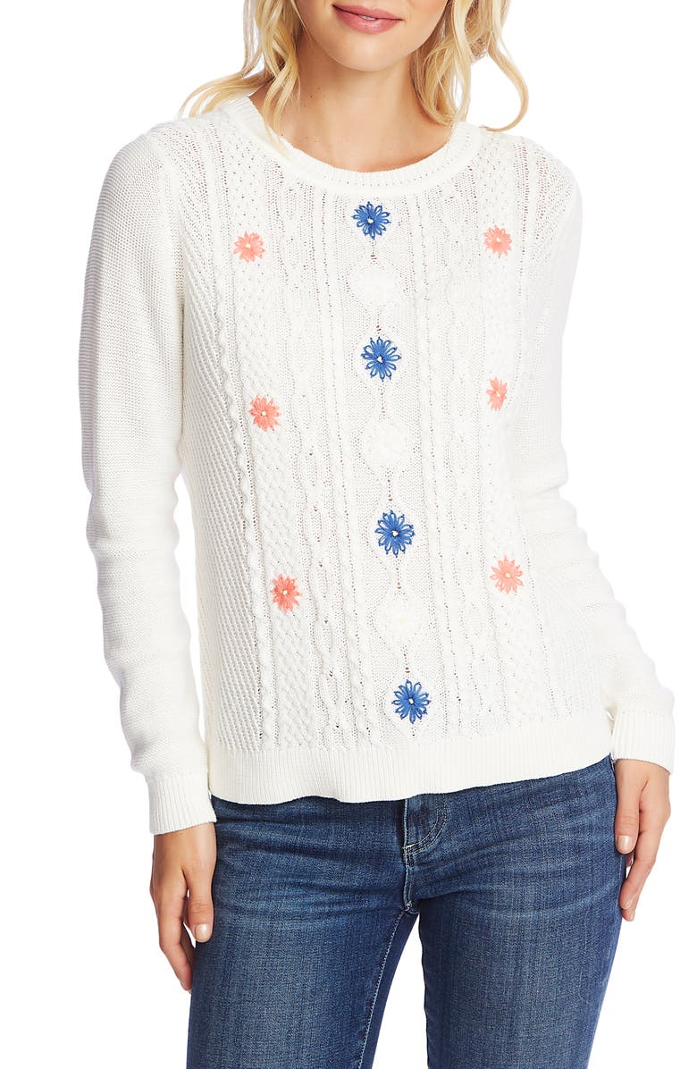 CECE Embroidered Cable Knit Sweater, Main, color, ANTIQUE WHITE