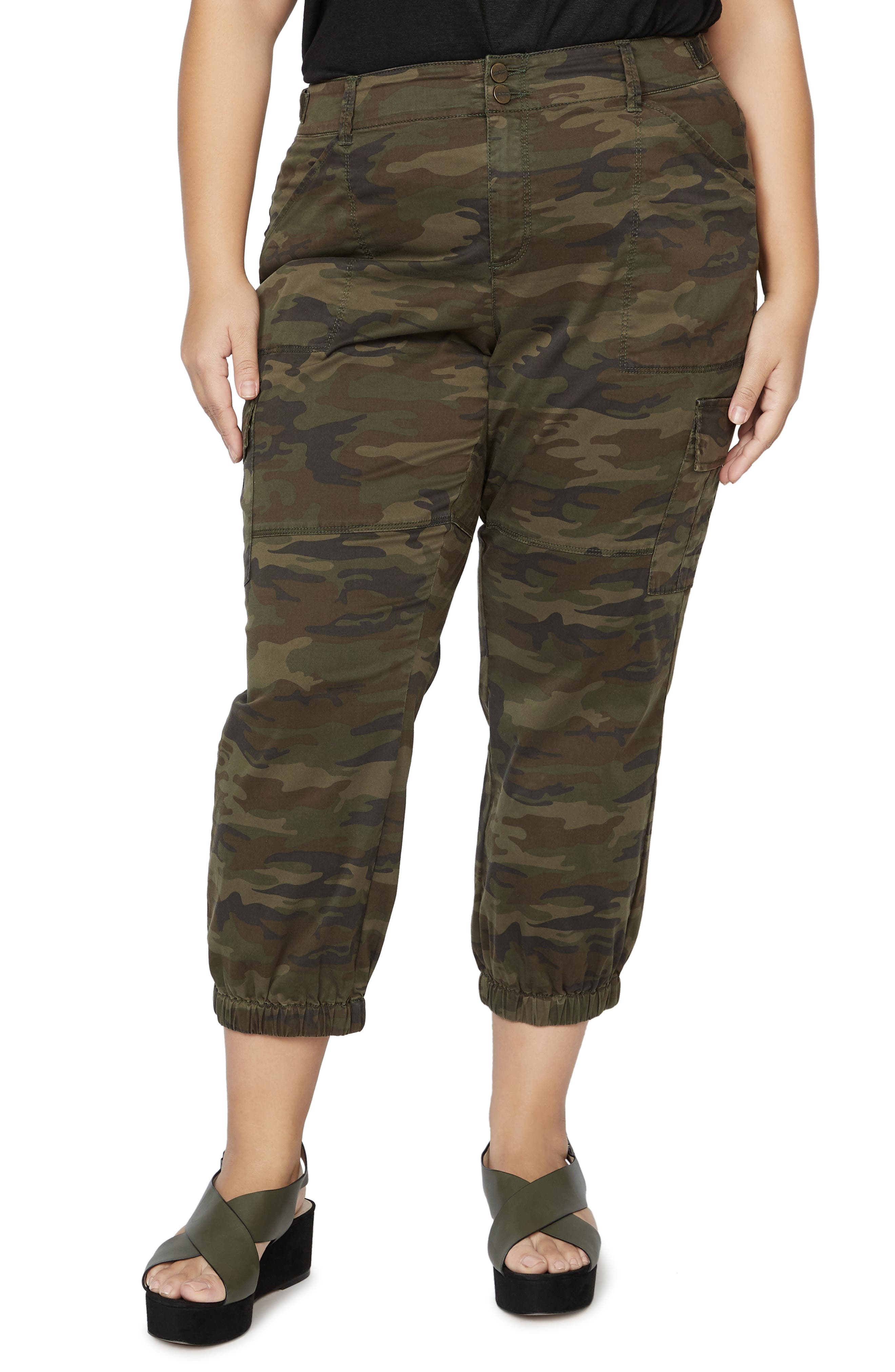 Plus  Women's Sanctuary Terrain Camo Cargo Pants,  22W - Green