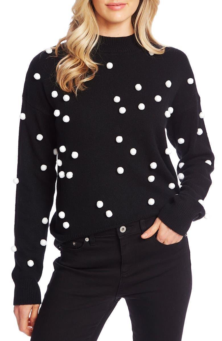 CECE Pompom Mock Neck Sweater, Main, color, RICH BLACK
