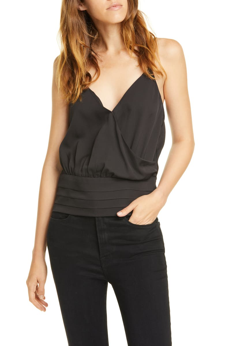 FRAME Criss Cross Surplice Silk Cami, Main, color, 001
