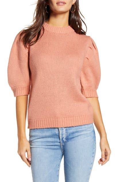 English Factory Puff Sleeve Sweater In Pink