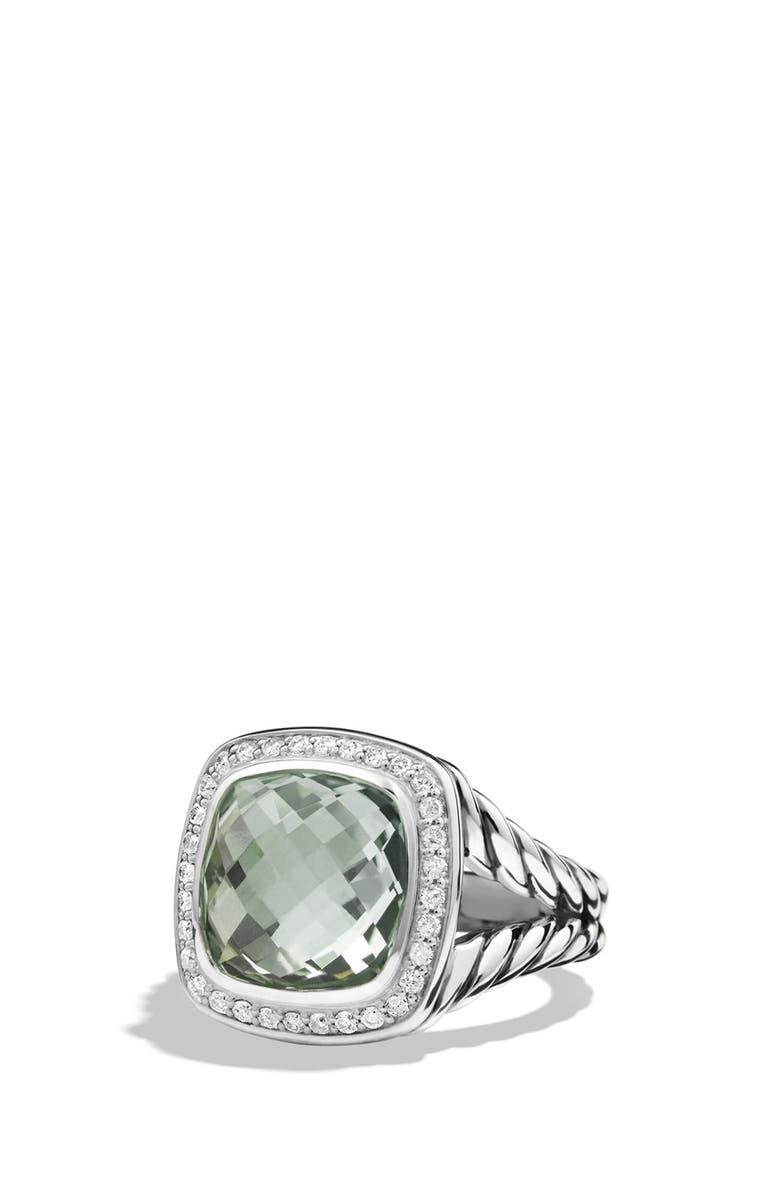 DAVID YURMAN 'Albion' Ring with Semiprecious Stone and Diamonds, Main, color, PRASIOLITE