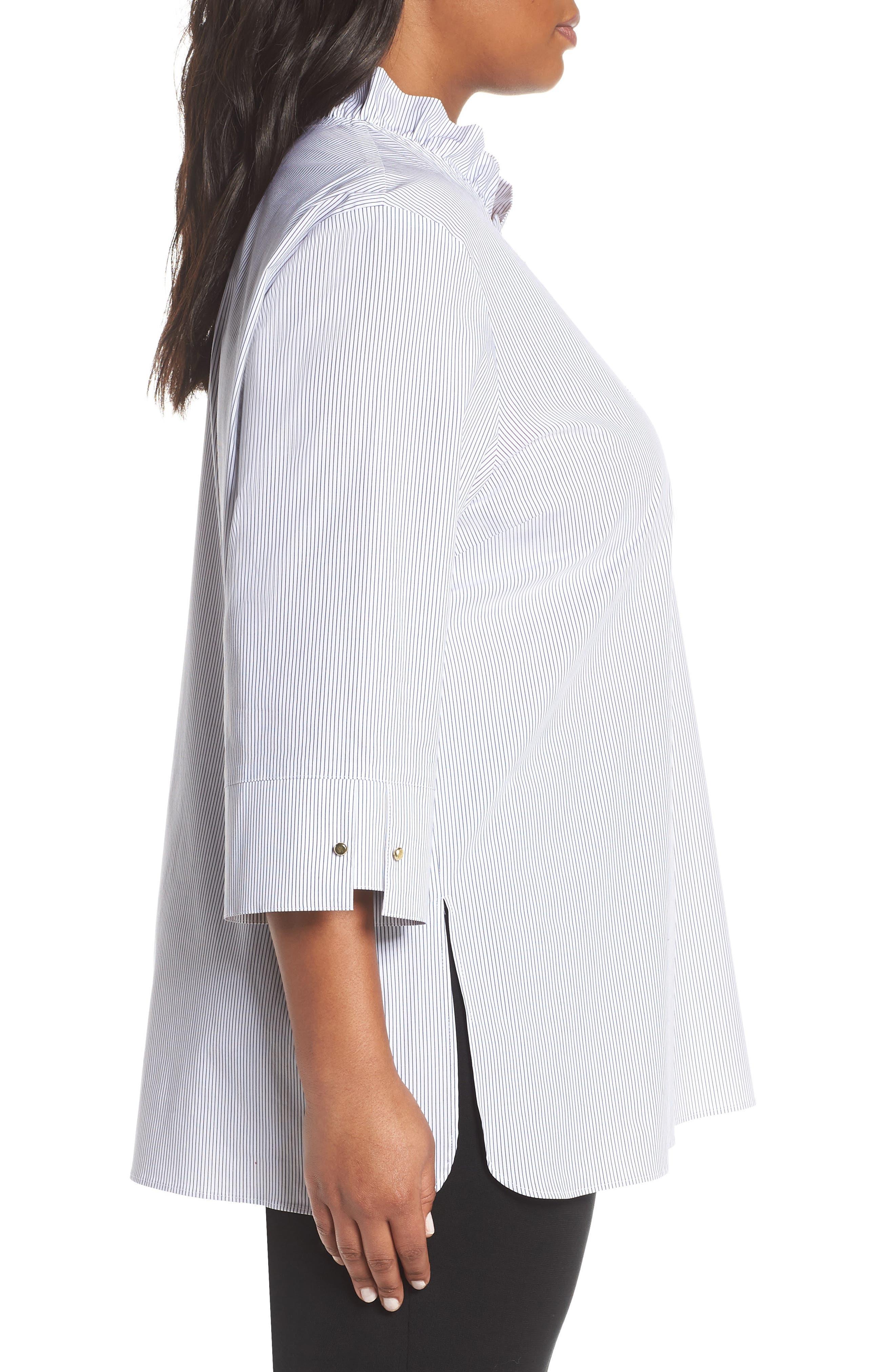 ,                             Ruffle Neck Shirt,                             Alternate thumbnail 3, color,                             BLACK/ WHITE