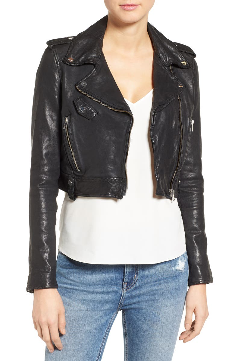 LAMARQUE Washed Leather Crop Moto Jacket, Main, color, 001