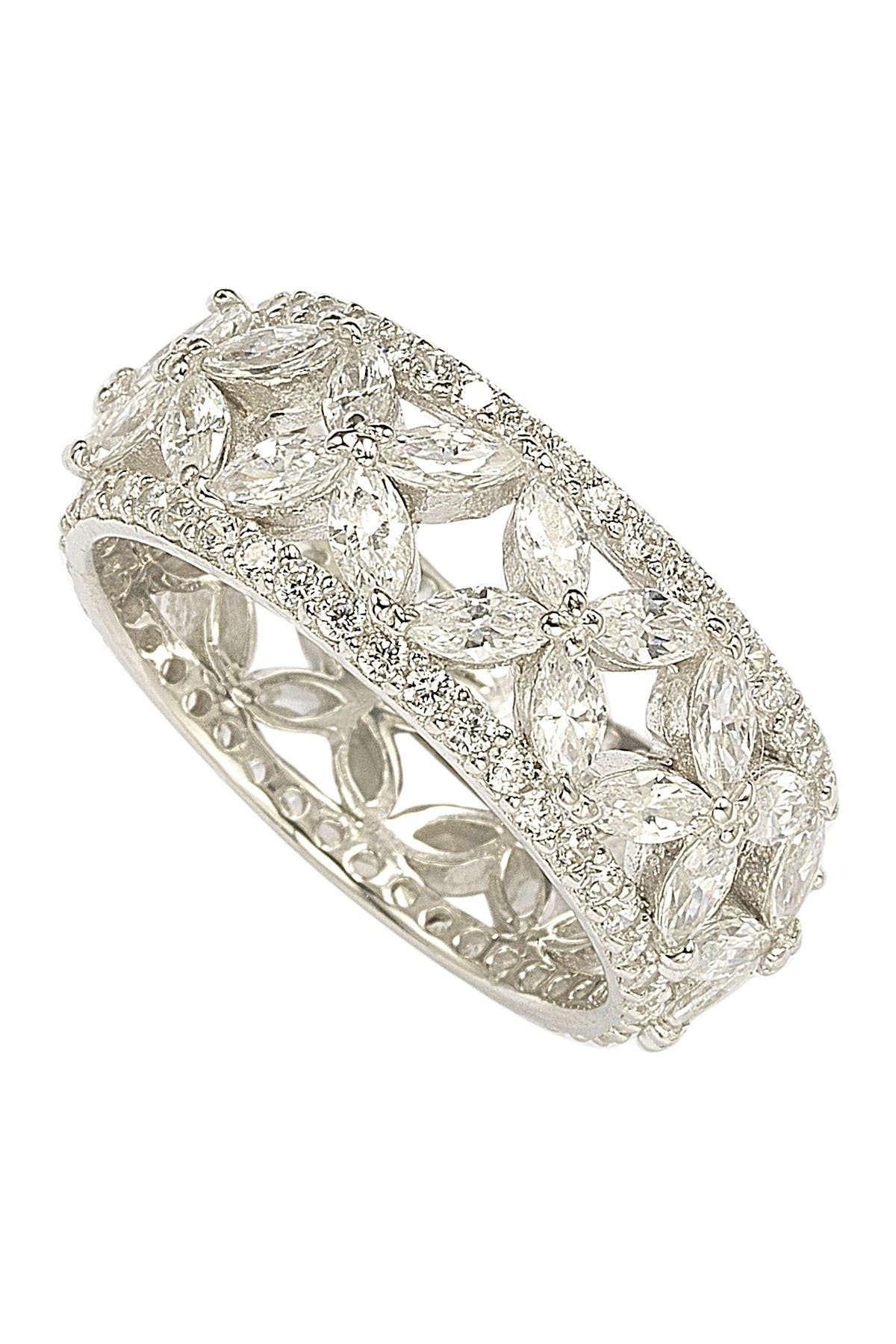Suzy Levian Sterling Silver CZ Cutout Flower Ring at Nordstrom Rack