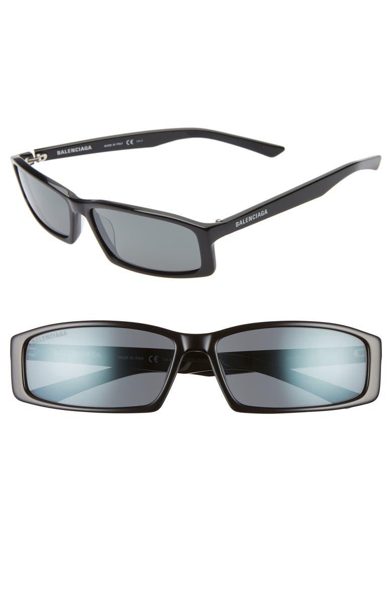 BALENCIAGA 60mm Rectangle Sunglasses, Main, color, SHINY BLACK/ GREY
