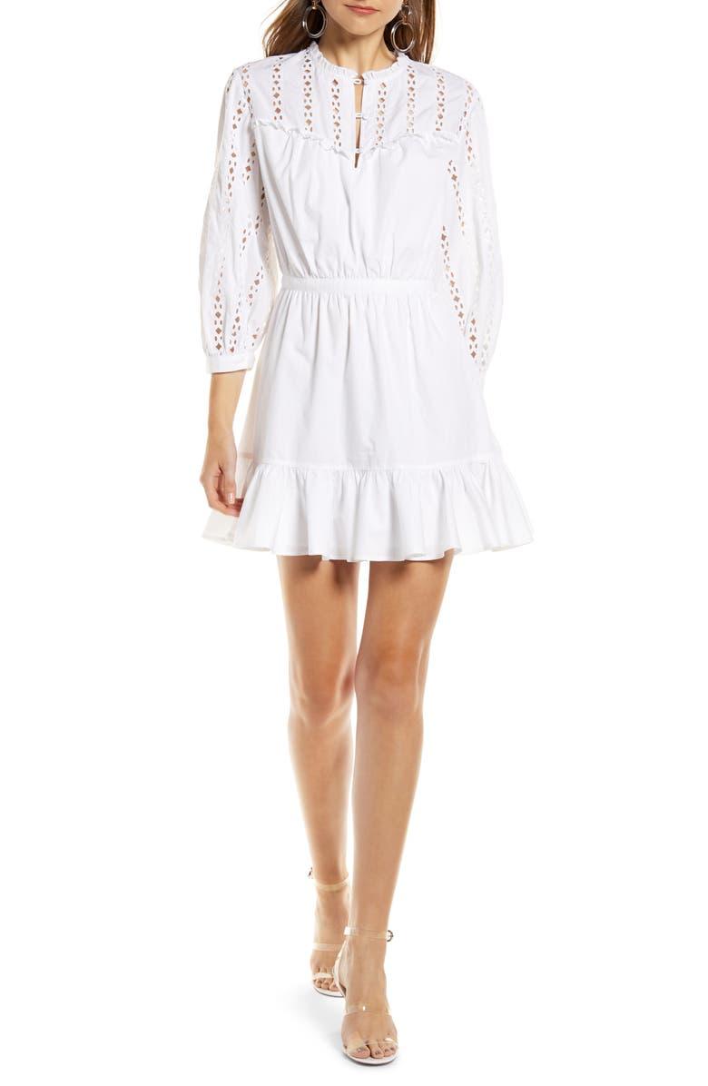 SOMETHING NAVY Pretty Ruffle Minidress, Main, color, WHITE