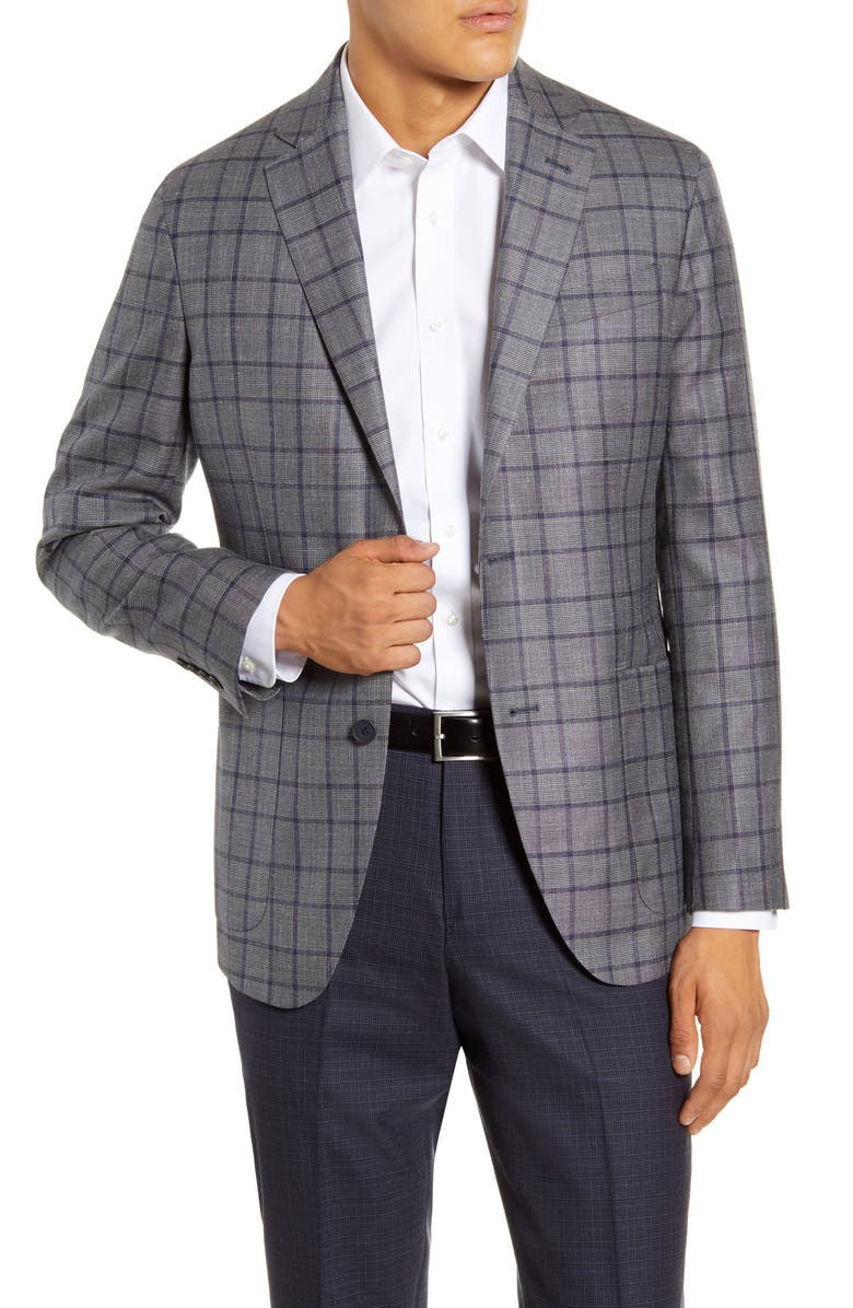 NORDSTROM MEN'S SHOP Trim Fit Plaid Wool Blend Sport Coat, Main, color, GREY SHADE BLUE WINDOWPANE