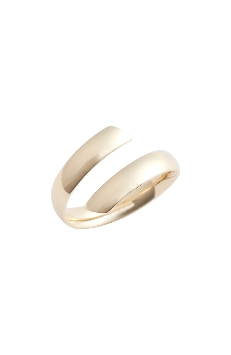 BONY LEVY Beveled Edge Bypass Ring, Main, color, YELLOW GOLD