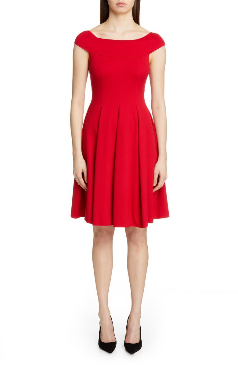 EMPORIO ARMANI Off the Shoulder A-Line Dress, Main, color, ROSSO VOLCANO