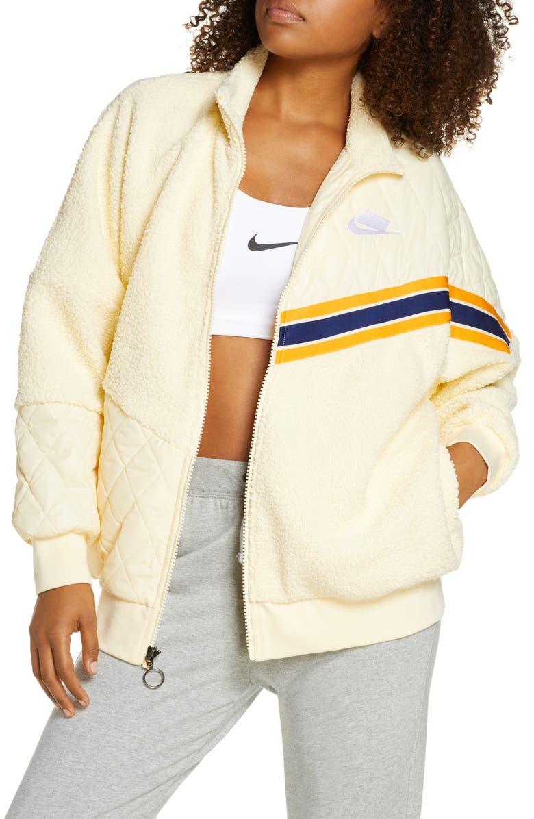 NIKE Sportswear Full Zip Fleece Track Jacket, Main, color, MUSLIN/ MUSLIN/ MUSLIN/ WHITE