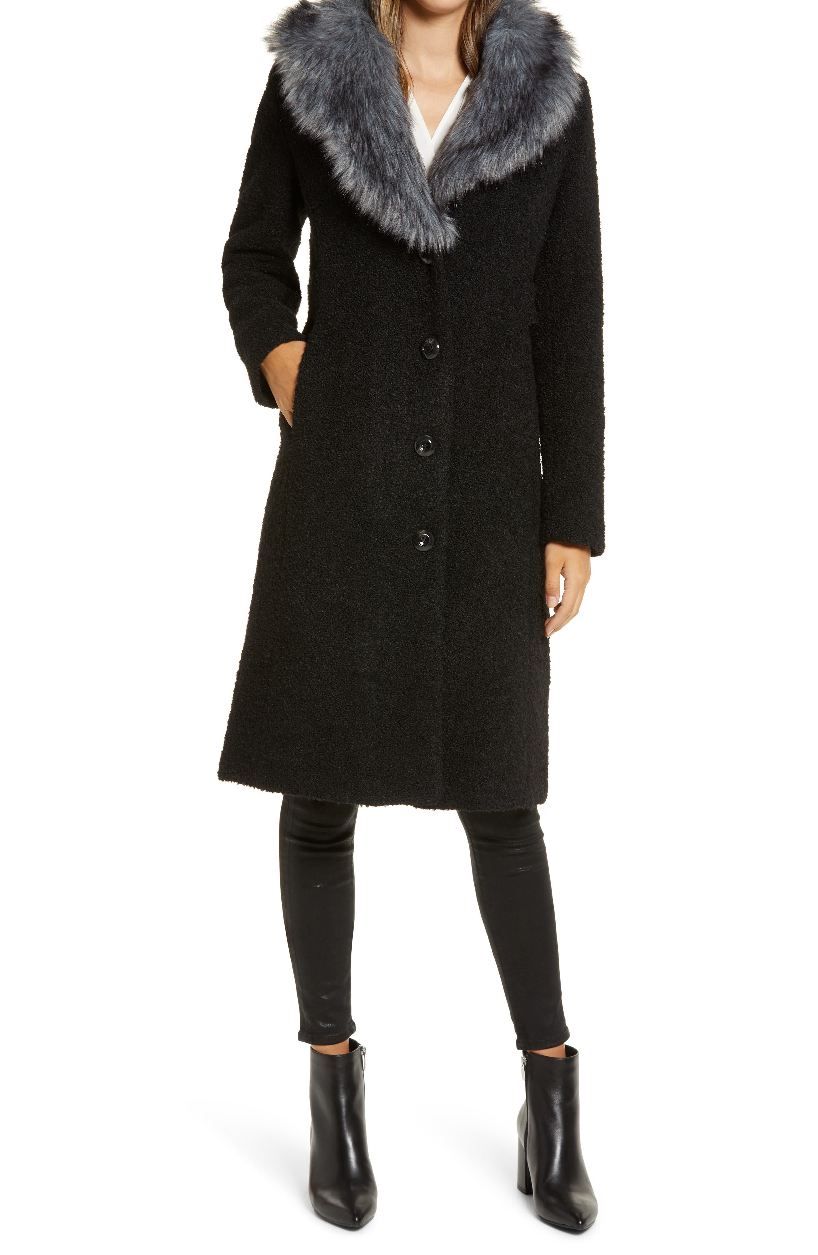 Vintage Coats & Jackets | Retro Coats and Jackets Womens Gallery Wool Blend Coat With Removable Faux Fur Collar $174.90 AT vintagedancer.com