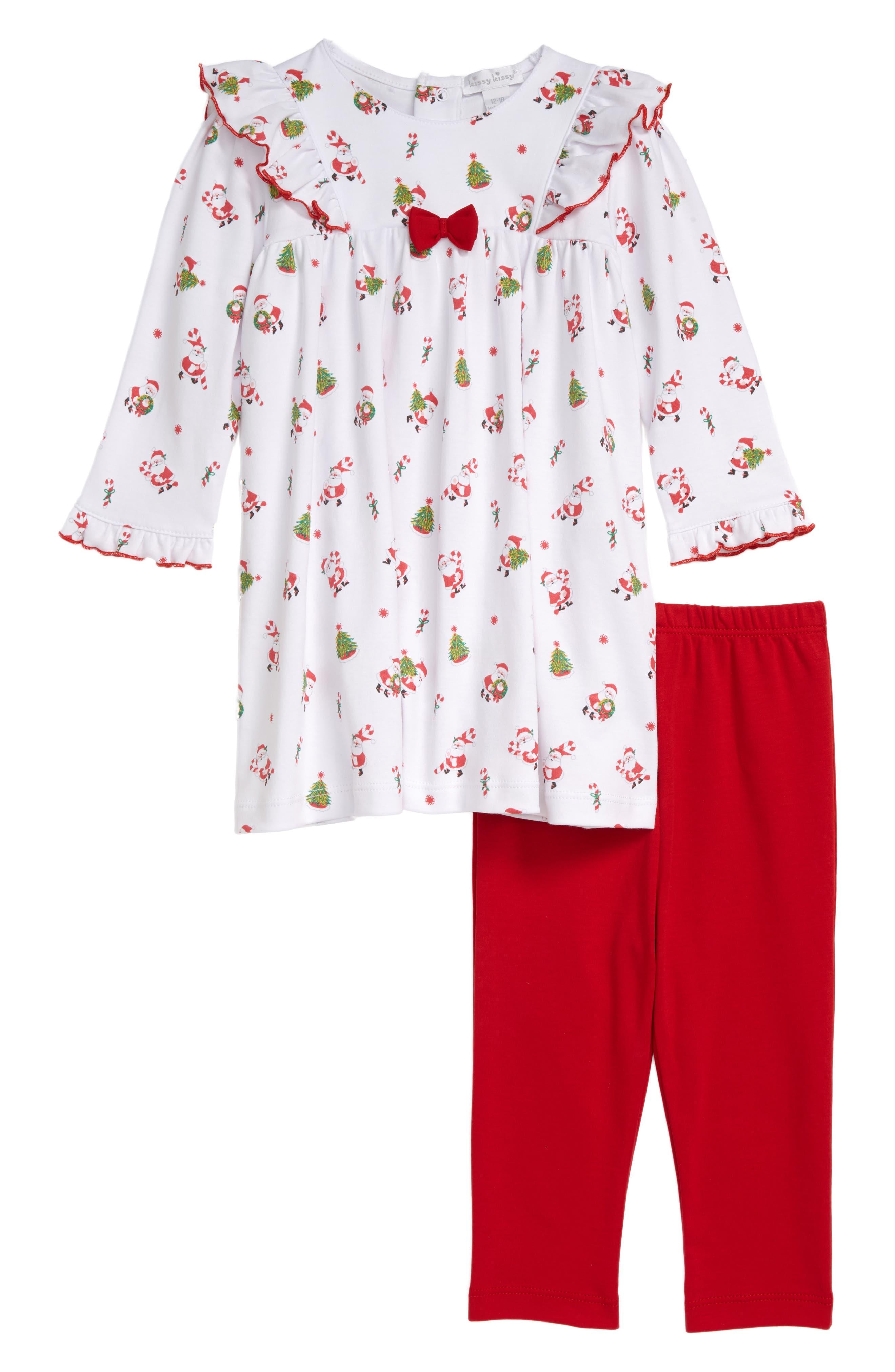 Image of Kissy Kissy Santa Print Dress & Leggings Set