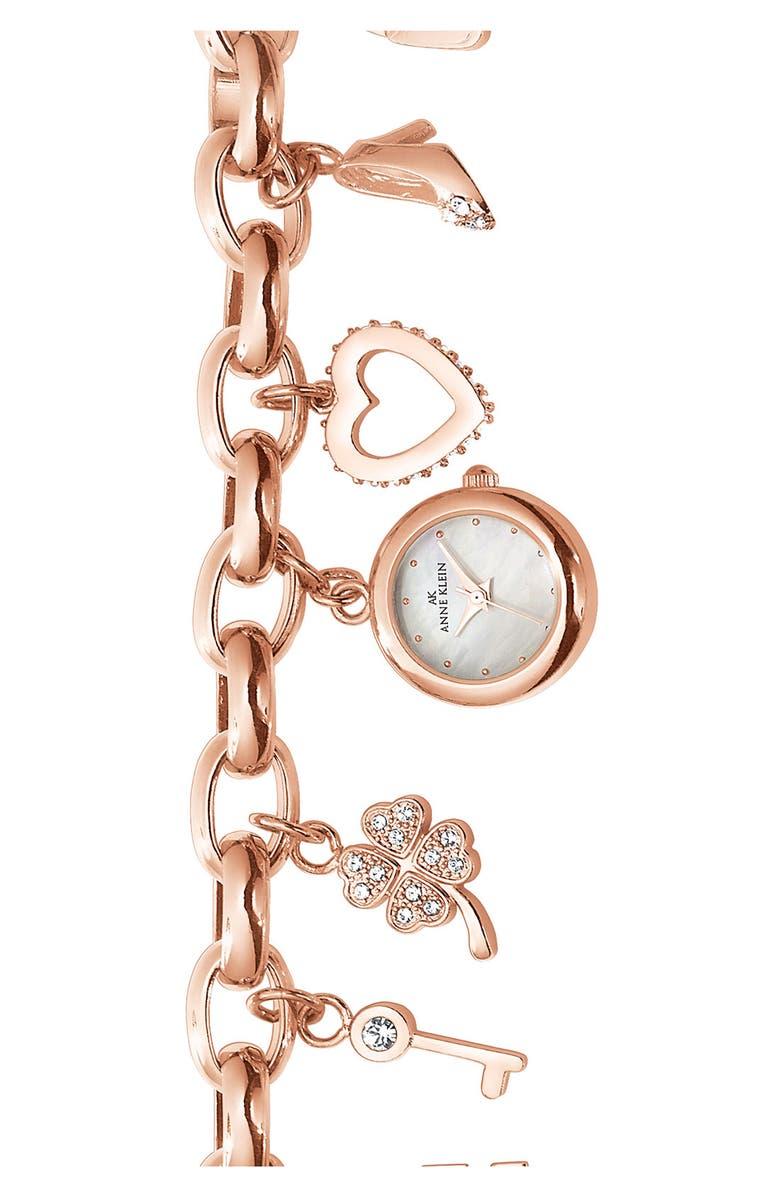 ANNE KLEIN Charm Bracelet Watch, Main, color, 711
