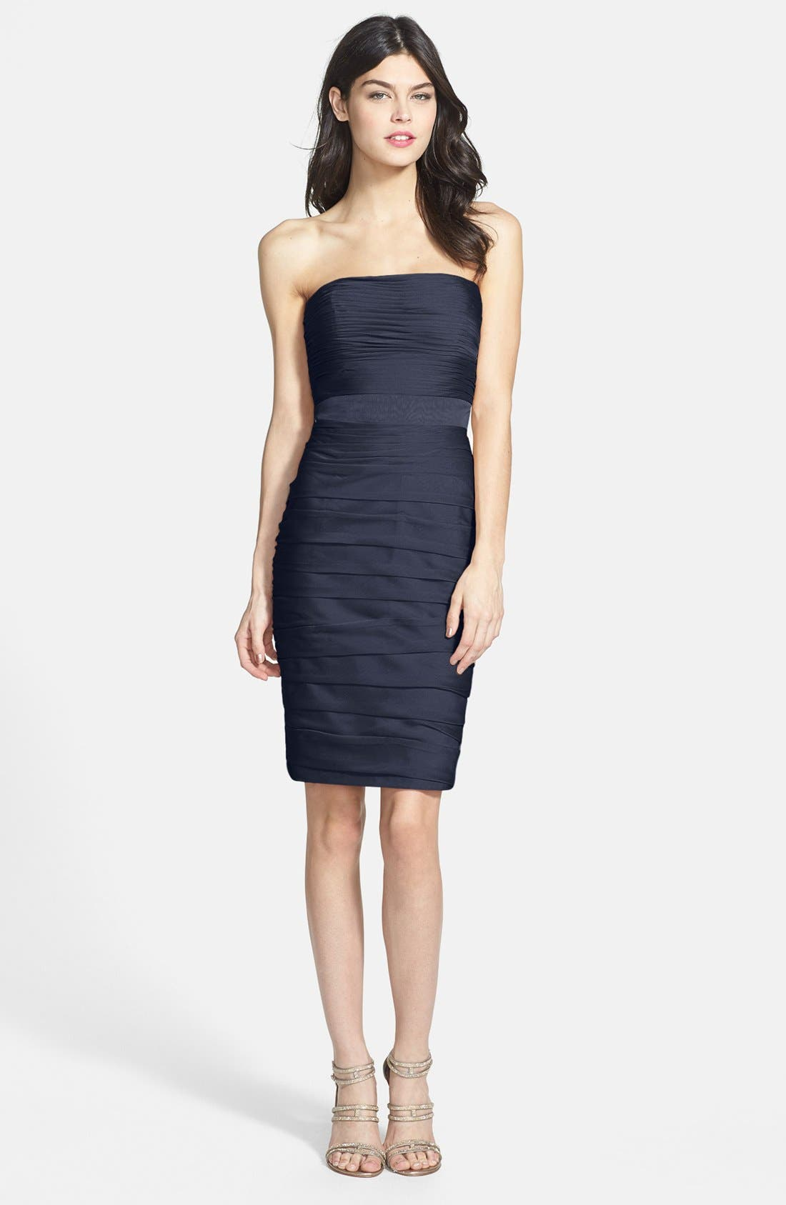 ,                             Ruched Strapless Cationic Chiffon Dress,                             Alternate thumbnail 45, color,                             400