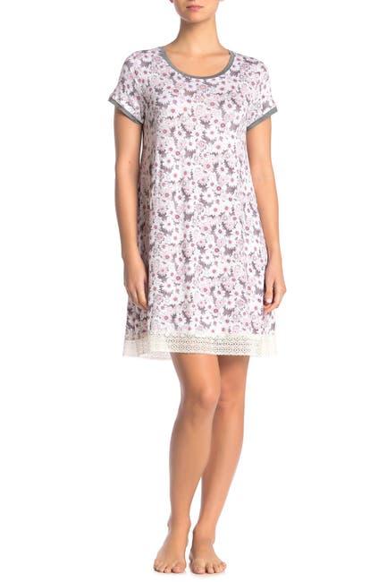 Image of Kensie Floral Lace Trim Nightshirt