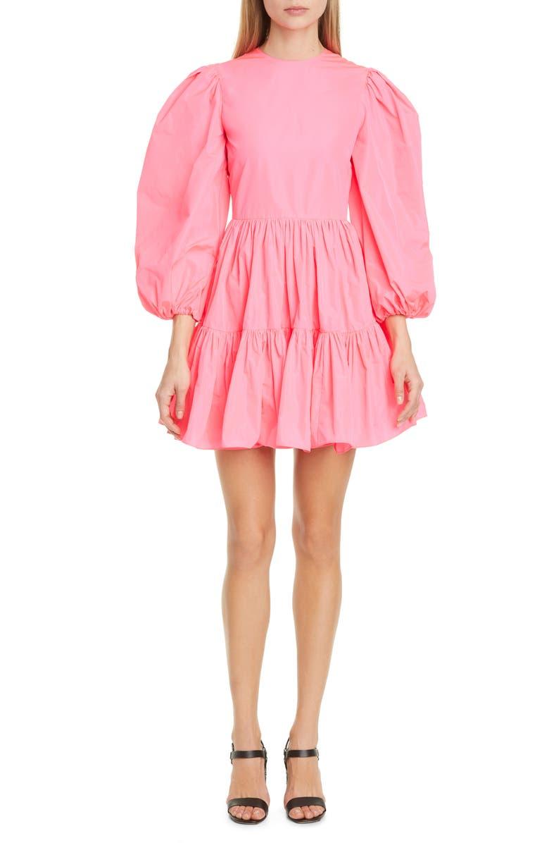 VALENTINO Long Sleeve Tiered Taffeta Minidress, Main, color, 665