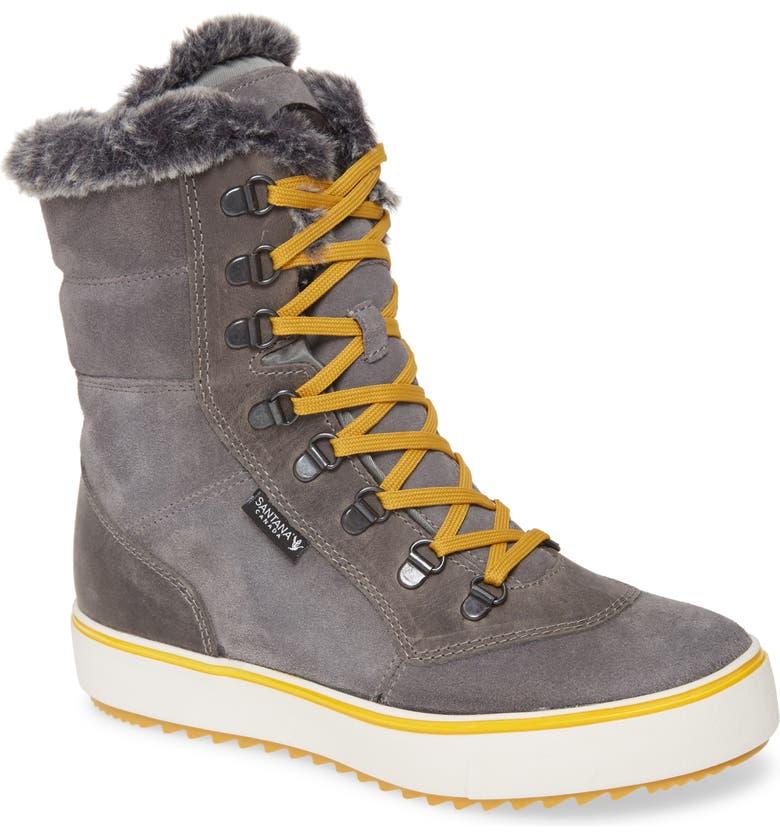 SANTANA CANADA Mid Water Resistant Winter Boot, Main, color, GREY/ MUSTARD SUEDE